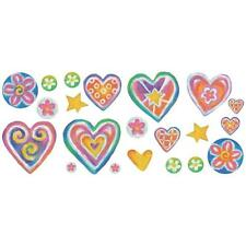SWEET HEARTS wall stickers over 23 decals GIRLS ROOM WALL DECOR stars flowers