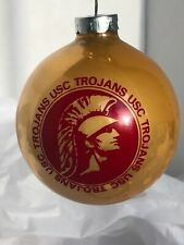Vintage USC Trojans Gold & Red Glass Ball Christmas Ornament