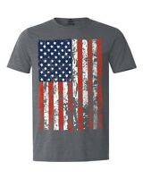 American Flag Distressed T-shirt USA Patriotic 4th of July Heather Shirts