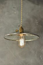 Vintage Industrial Pendant Lamp with Flat Mirror Reflector Shade - Antique Machi