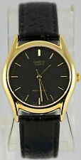 Casio MTP1094Q-1A Mens Black and Gold Watch Analog Leather Band Quartz New
