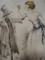 tres ancien  CADRE ART DéCO,SOUS VERRE ,CRAYONNAGE champétre 15x10cm