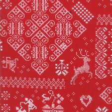 Moda Nordic Stitches Winter Knit Sampler Red 39710 13 Quilting Cotton Fabric