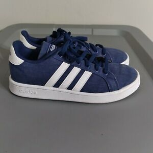 Adidas Grand Court Youth Kids Size 3.5 Classic Shoes Blue/White Low Top Sneakers