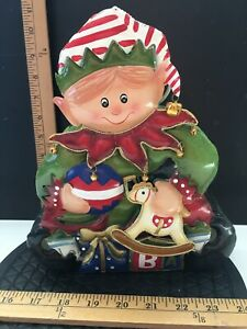 Home Interiors Tin Metal Hanging Christmas Elf with Toys Candle Holder in Box