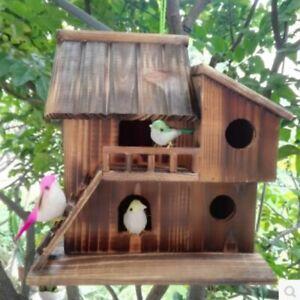 Pet Bird Hamster Ferret Rat Squirrel Wood Hanging Cage Nest House Toys Outdoor ✅