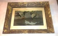VTG Framed Duck Print Rustic Wood Frame 13.5 x 17.5 Cabin Hunting Man Cave Decor