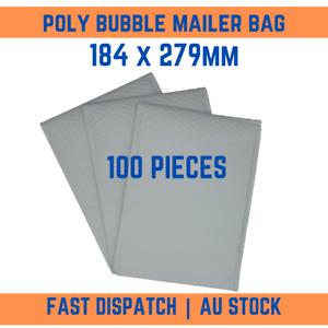 100 Pcs Plain White Poly Bubble Padded Bag Mailer Postage Envelope 184mm x 279mm