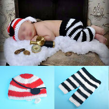 Newborn Baby boys girls Pirate Crochet Photo Kits Suit Costume Photography Prop