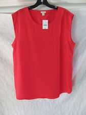 J.Crew Sleeveless Polyester Blouse/Top -Bright Poppy -Size Large -NWT $59.50
