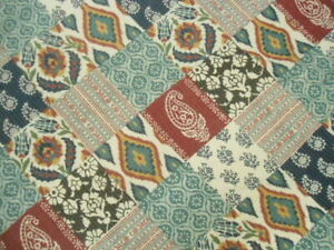 Full Queen Medium Weight Summer Cotton Quilt IKAT and Paisley Patchwork Boho