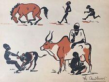 Exposition coloniale Paris 1931 bois gravé Philippe ANDLAUER Afrique Epinal