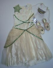NWT Disney Princess & Frog M 7-8 Tiana Deluxe Wedding Costume Tiara Veil & Shoes