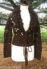 NWOT Anthropologie Moth brown crochet knit loop fringe collar sweater Small