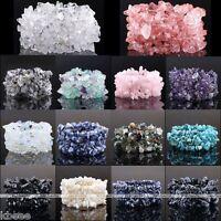 Natural Gemstone Amethyst Agate Quartz Crystal Freeform Chip Beads Bracelet Gift