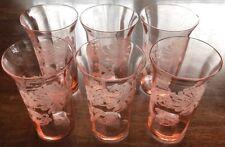 """CAMBRIDGE Chrysanthemum PINK 5"""" Juice WATER Tumbler LOT Depression GLASS Set"""