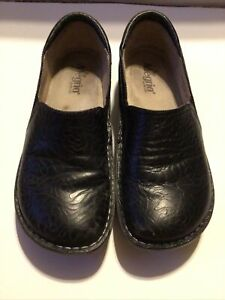 Alegria Debra Black Tooled Leather Rose Embossed Nursing Shoe Size 41/US 10.5-11