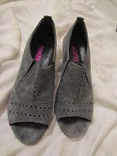 Grey Suede Elasticated Front Comfy Jones Peep Toe Shoes in Size 5 UK