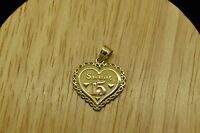 "14K YELLOW GOLD ""SWEET 15"" QUINCEANERA HEART PENDANT CHARM W/ ROSE GOLD 15"