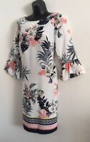 NEW Ex Wallis White Floral Border Hem Flare Sleeve Tunic Shirt Dress Size 10-16