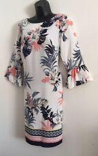 NEW Ex Wallis White Floral Border Hem Flare Sleeve Tunic Shirt Dress Size 10-16
