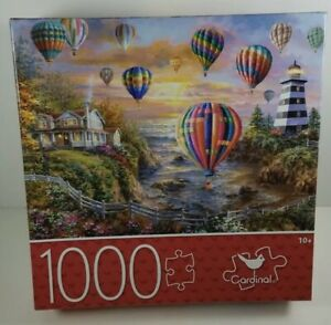 Cardinal Puzzles Balloons Over Cottage Cove 1000 Pc Jigsaw Puzzle New Sealed