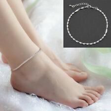 Fashion Ankle Bracelet Women 925 Sterling Silver Anklet Foot Jewelry Chain Beach
