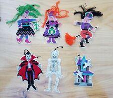 6 Halloween Cross Stitch Ornaments-Haunted House, Dracula, Skeleton, 3 Costumes