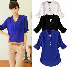 Women Chiffon Long Sleeve V Neck OL Work Ladies Loose Casual Blouse Tops T Shirt