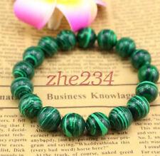 8mm Green Natural Malachite Bracelet Bangle Round BeadS Women Men Jewelry beauty