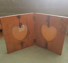 Rustique Shabby chic fait main en bois double cœur baignoir Cadre Photo-GC
