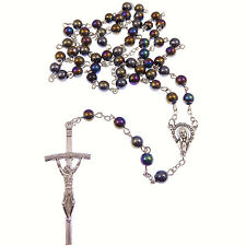 Iridescent petrol effect black glass rosary beads silver chain 52cm length