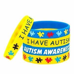 I Have Autism Acceptance Awareness Silicone Bracelet Wristband Band Yellow