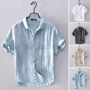Herren Casual Leinen Baumwollhemd Kurzarm Hemden Top Bluse Slim T Shirt Sommer