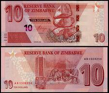 ZIMBABWE 10 DOLLARS 2020 P NEW PREFIX AB UNC