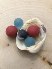 5 Tumbled Sea Glass Marbles Red Orange Solid light Blue Black White Swirled