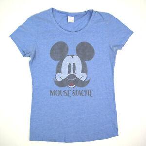 Mickey Mouse Moustache T-Shirt Women's S/M Vintage Blue Fade c.2000s Top Tier