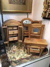 Three Piece Ferrara Company Miniature Furniture Set Cabinet Dresser Mirror