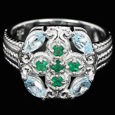 GENUINE AAA SKY BLUE TOPAZ & GREEN AVENTURINE STERLING 925 SILVER RING SIZE 6.75