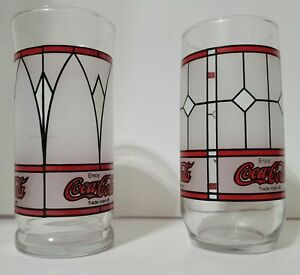2 Coca Cola Drinking Glasses Vintage Tiffany Style Coke Frosted Glass Cups