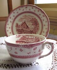 Grindley  English Landscapes PINK Transferware Cup & Saucer Set Mult Avail