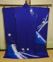 Furisode Silk Kimono Women Japanese Vintage Robe Blue 164cm /735