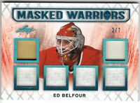 ED BELFOUR 2017-18 Leaf Masked Warriors 6 swatch PATCH / JERSEY Teal #2/7