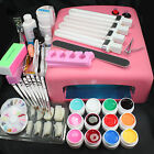 Pro 36W UV GEL Pink Lamp & 12 Color UV Gel Nail Art Makeup Tool Sets