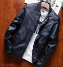 Mens Synthetic Leather Slim Fit Coats Jackets Motorcycle Jackets Biker new