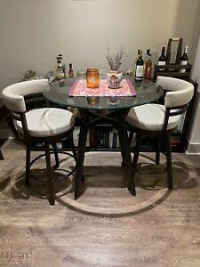 Round Glass Dining Table by Amisco