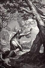 Biblical Art print c 1910 Chariot of Fire Abraham Bloemaert Dutch master d 1658