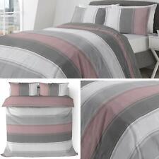 Pink Duvet Covers Blush Grey Banded Stripe Modern Quilt Cover Bedding Sets