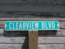 """""""Clearview Blvd"""" Authentic Retired Aluminum Street Sign"""