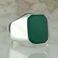 Solid 925 Sterling Silver Men Ring Green Agate Gemstone HandMade Turkish Style